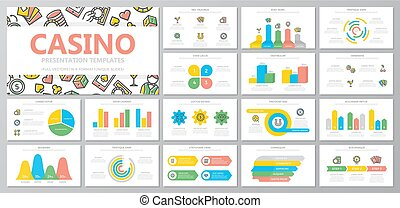 Set of gambling and casino elements for multipurpose presentation template slides with graphs and charts. Leaflet, corporate report, marketing, advertising, book cover design.