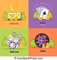Set of Gambling Conceptual Vector Banners.