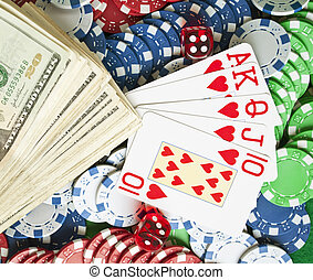 Set of gambling objects - poker chips - cards - dices - money