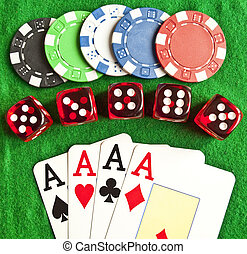 Set of gambling objects - poker chips - cards - dices