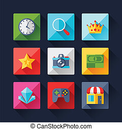 Set of game icons in flat design style.