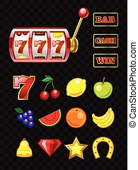 Set of game machine objects - vector realistic isolated clip art