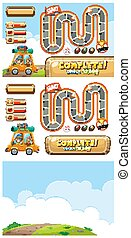 Set of game templates with car on dirt road illustration