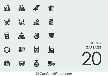 Set of garbage icons