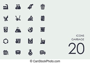 Set of garbage icons