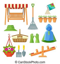 Set of garden equipment and decorative accessories vector illustration