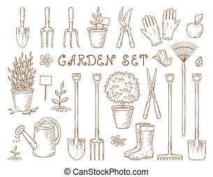 set of garden equipment - set of vintage isolated garden...