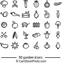 set of garden line icons
