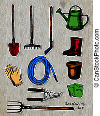 Set of garden related objects