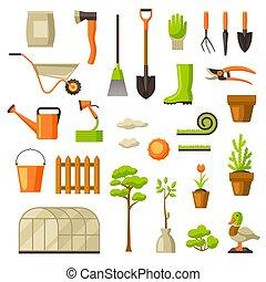 Set of garden tools and items. Season gardening illustration