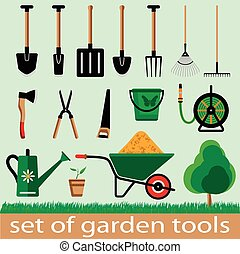 garden tools - Set of garden tools. Icon. Vector ...