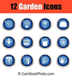 Set of gardening icons.