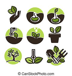 Set of gardening labels - Set of vector illustrations with...