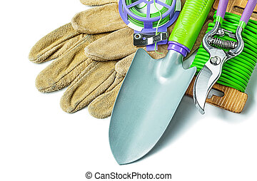 set of gardening tools isolaed on white background