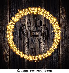 Set of garland lights. Glowing round christmas lights on wooden background. Includes vector brushes festive strands of Christmas lights