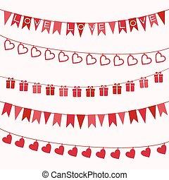 Set of garlands for Valentine's Day or wedding design