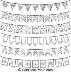 Set of garlands, vector illustration