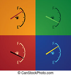set of gas gage isolated on a multicolor background
