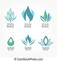 Set of gas icons - Set of gas energy icons. Natural gas. Gas...
