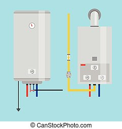Set of gas water heater and electric water heater. Flat icon...