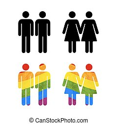 Set of gay couples icons on white