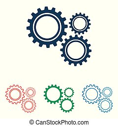 Set of gear icons - simple flat design isolated on white background, vector