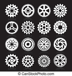 Set of gear icons.