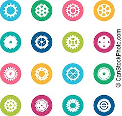 Set of gear wheels on color background, vector illustration