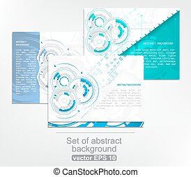 Set of gears and circuit board with arrows on abstract background