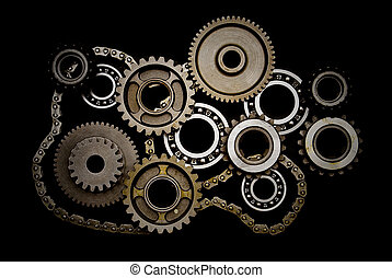 Set of gears, ball-bearings and chain isolated on black...