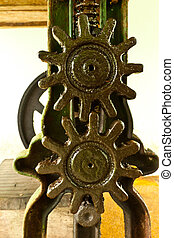 set of gears, ball-bearings and chain