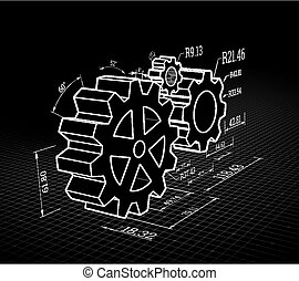 Set of gears on a black background. Vector illustration, blueprint style.