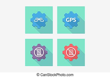Set of gears with technology related icons