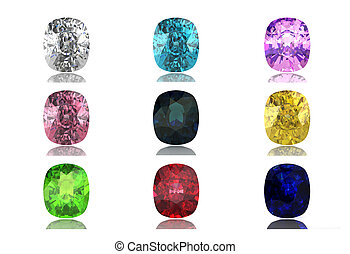 Set of gems in different colors