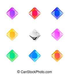 set of gems stones of different colors