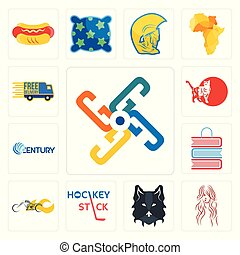 Set of generic, long hair, wolf face, hockey stick, chopper, book shop, century, cat, free delivery icons