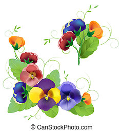 Set of gentle floral with pansy