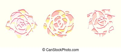 Set of gentle succulents with a top view with 3d background cut out of paper in pastel color on white background.