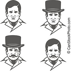 Set of gentleman heads with moustache isolated on white backgrou