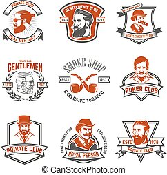 Set of gentlemen's private club labels. Poker and smoking club.