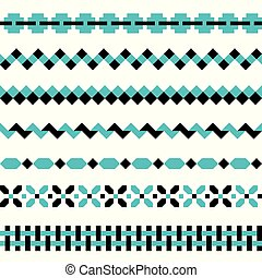 Set of geometric borders in two colors. Decoration elements abstract patterns.