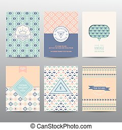 Set of Geometric Brochures and Cards - vintage layouts - in vector