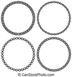 Set of geometric circle elements, frames. Abstract circle shapes