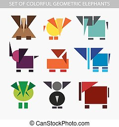 Set of geometric colorful elephants