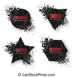 Set of geometric creative banners with space for text. Circle and hexagon, star and triangle destruction shapes. Abstract explosion of black shapes. Vector illustration isolated on white background