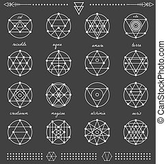 Set of geometric hipster shapes45x66black