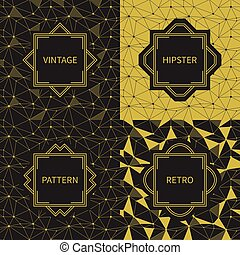 Set of geometric line hipster seamless pattern with triangle, circles. Reticulated abstract linear grid. Collection of wrapping paper. Scrapbook. Vector illustration. Gold background. Texture.