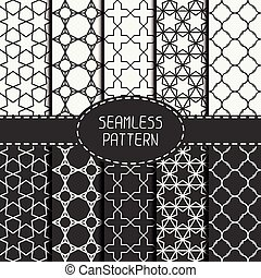 Set of geometric monochrome lattice seamless arabic pattern...