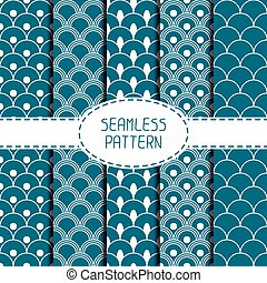 Set of geometric national blue japanese seamless pattern. Collection of wrapping paper. Paper for scrapbook. Beautiful  vector illustration. Oriental background. Graphic texture  for your design.