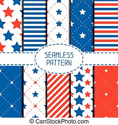 Set of geometric patriotic seamless pattern with red, white, blue stars. American symbols. USA flag. 4th of July. Wrapping paper. Paper for scrapbook. Tiling. Vector nautical starry background.